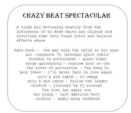 crazy beat spectacular mono mix. back.
